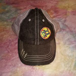 Katydid Distressed Softball Mom Charcoal Gray Baseball Cap Hat